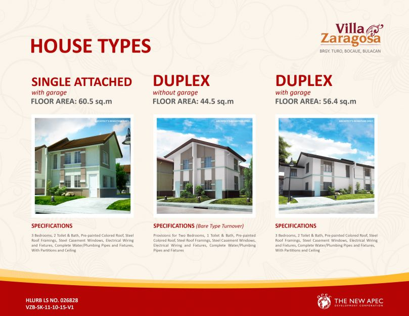 Villa Zaragosa House Types